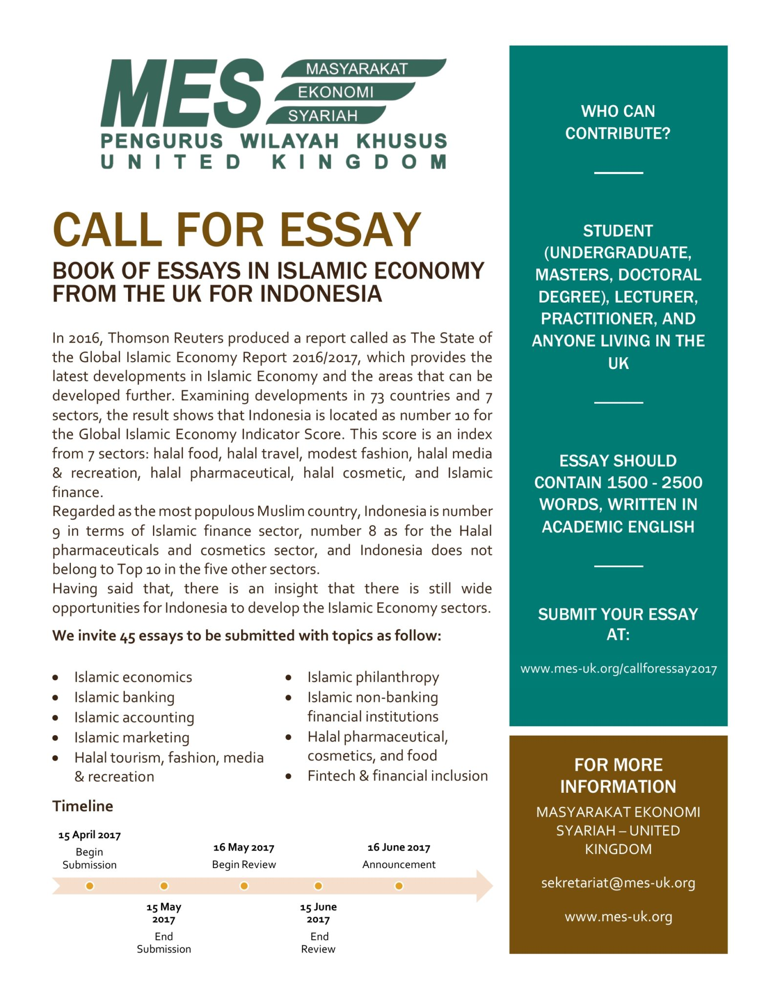 call for essay book of essays in islamic economy from the uk for call for essay book of essays in islamic economy from the uk for